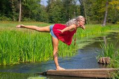 Donna nella posizione di yoga su una gamba in natura fotografia stock