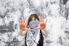 Donna nella protesta Immagine Stock