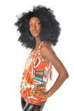 Donna nella retro acconciatura afro Fotografia Stock Libera da Diritti