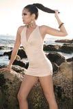 Donna nella spiaggia Immagine Stock