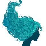 Donna nella vista di profilo con capelli lunghi Fotografie Stock Libere da Diritti