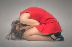 Donna nello sforzo depressione immagine stock