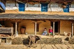 Donna nepalese dell'agricoltore con suo figlio Fotografia Stock