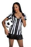 Donna nera dell'arbitro Fotografie Stock