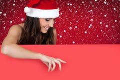 Donna, neve e tabellone per le affissioni sexy della Santa Immagini Stock Libere da Diritti