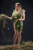 Donna nuda con Camomiles Fotografia Stock