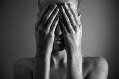 Donna nuda con trucco d'argento Immagini Stock