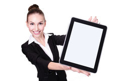 Donna o insegnante di affari che mostra il pc della compressa Fotografia Stock