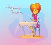 Donna o ragazza alla data aspettante del caffè, romanzesca Immagini Stock