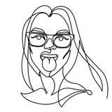 Donna in occhiali che mostrano a lingua una linea Art Portrait Espressione facciale femminile allegra Donna lineare disegnata a m Fotografia Stock Libera da Diritti