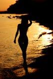 Donna in oceano Fotografia Stock Libera da Diritti