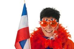 Donna olandese con la bandierina come ventilatore di calcio immagini stock libere da diritti