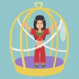 Donna orientale nel fumetto di vettore della gabbia dell'oro Fotografia Stock Libera da Diritti