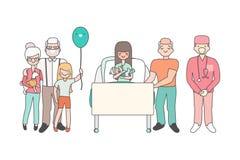 Donna in ospedale con il neonato Illustrazione di vettore nella progettazione lineare di stile Ricoverato dei caratteri della gen Immagini Stock