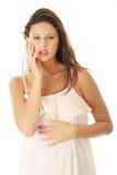 Donna in pannello esterno Fotografia Stock