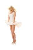 Donna in pannello esterno bianco fotografia stock