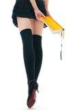 Donna in pannello esterno ed in calze Immagine Stock Libera da Diritti