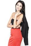 Donna in pannello esterno rosso Immagini Stock