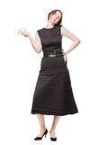 Donna in panno nero che pensa a qualcosa Fotografia Stock
