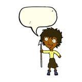 donna pazza del fumetto con la lancia con il fumetto Fotografia Stock Libera da Diritti