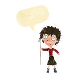 donna pazza del fumetto con la lancia con il fumetto Fotografia Stock