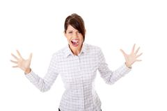 Donna pazza di affari Immagini Stock Libere da Diritti