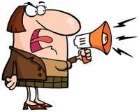 Donna pazza di affari che urla tramite un megafono Immagini Stock