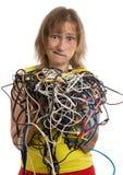 Donna pazzesca con groviglio dei cavi Fotografia Stock Libera da Diritti