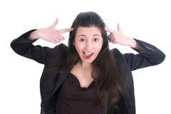 Donna pazzesca di affari che grida Fotografia Stock Libera da Diritti