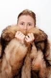 Donna in pelliccia Immagini Stock Libere da Diritti