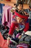 Donna peruviana in Chinchero Fotografie Stock Libere da Diritti