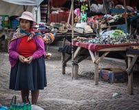 Donna peruviana con un bambino al mercato di Pisac immagini stock libere da diritti