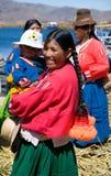 Donna peruviana natale, Titicaca, Perù Fotografia Stock Libera da Diritti