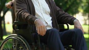 Donna più anziana che si preoccupa con la tenerezza circa l'uomo senior in sedia a rotelle, supporto stock footage