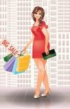 Donna più di modo di acquisto di dimensione Immagini Stock Libere da Diritti