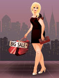 Donna più di modo di acquisto di dimensione in città Fotografie Stock