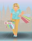Donna più di vendita di dimensione, illustrazione di stock