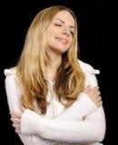 Donna in ponticello bianco molle Fotografia Stock