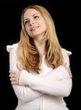 Donna in ponticello bianco molle Fotografie Stock Libere da Diritti