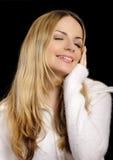 Donna in ponticello bianco molle Fotografie Stock