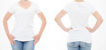 Donna potata dell'insieme del ritratto in maglietta su fondo bianco Derisione su per progettazione Copi lo spazio mascherina blan fotografie stock libere da diritti