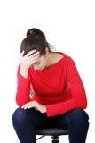 Donna premurosa con il problema o la depressione Fotografia Stock Libera da Diritti