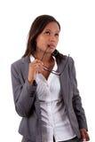 Donna premurosa di affari dell'afroamericano Immagini Stock Libere da Diritti