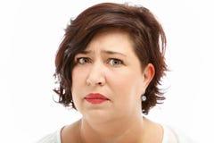 Donna preoccupata ansiosa Immagini Stock Libere da Diritti