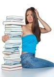 Donna preoccupata con i libri Immagini Stock Libere da Diritti