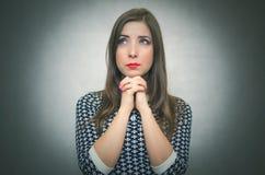 Donna preoccupata Ritratto Pensive della ragazza Immagine Stock Libera da Diritti