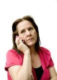 Donna preoccupata sul telefono. Fotografia Stock