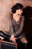 Donna provinciale in vestito marrone Immagine Stock Libera da Diritti