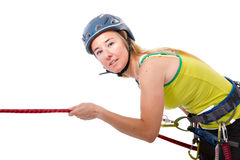 Donna rampicante bionda Fotografie Stock