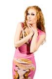 Donna Red-headed in vestito dentellare Immagine Stock Libera da Diritti